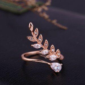 NEW ROSE GOLD DIAMOND LEAF ADJUSTABLE RING
